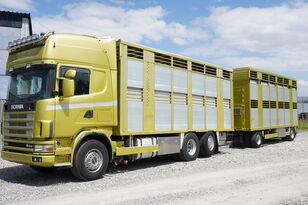 SCANIA R164 V8 , 6x2 , 2 hydraulic decks , 70m2 , live stock  Viehtransporter LKW + Viehanhänger